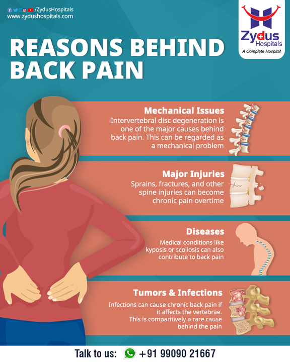 Back pain can affect people of any age, for different reasons. Back strains and sprains are the most common known causes of back pain. Fortunately, most back pain episodes can be prevented or relieved by taking precautionary measures. Often the pain may radiate down your leg or worsen with bending, lifting, standing or walking. It is advised to consult a specialist, to prevent the escalation of the pain.  #SpinalCord #SpinalCordInjury #Spine #Nerves #SafeSpineSurgery #SpineSurgery #BackPain #SpineInjury #BackPain #Injury #ZydusHospitals #HealthCare #StayHealthy #ZydusCare #BestHospitalinAhmedabad #Ahmedabad #GoodHealth