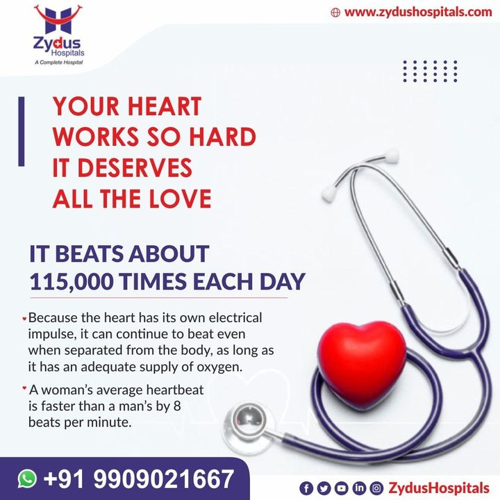 Given the heart's never-ending workload, it's a wonder it performs so well, for so long.   But it can also fail or go slow, due to some reasons.   Help yourself before it's too late.  #ZydusHospitals #HealthCare #ZydusCare #Ahmedabad #Hospital #Heart #HeartBeat #HeartAttack #HeartDisease #HeartDiseaseAwareness #StayHealthy #GoodHealth