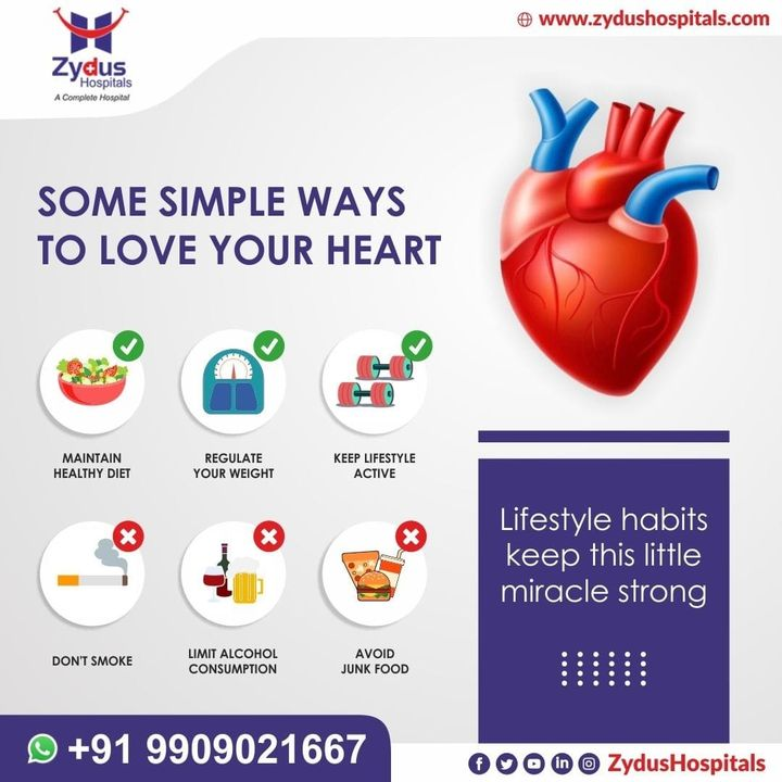 For most of us, preventing heart disease depends largely on our lifestyle, which means there's much that's in our power to improve our odds of living long and well.  Heart disease is the leading cause of death for both men and women. Take steps today to lower your risk of heart disease.  #ZydusHospitals #HealthCare #ZydusCare #Ahmedabad #Hospital #Heart #HeartBeat #HeartAttack #HeartDisease #HeartDiseaseAwareness #StayHealthy #GoodHealth