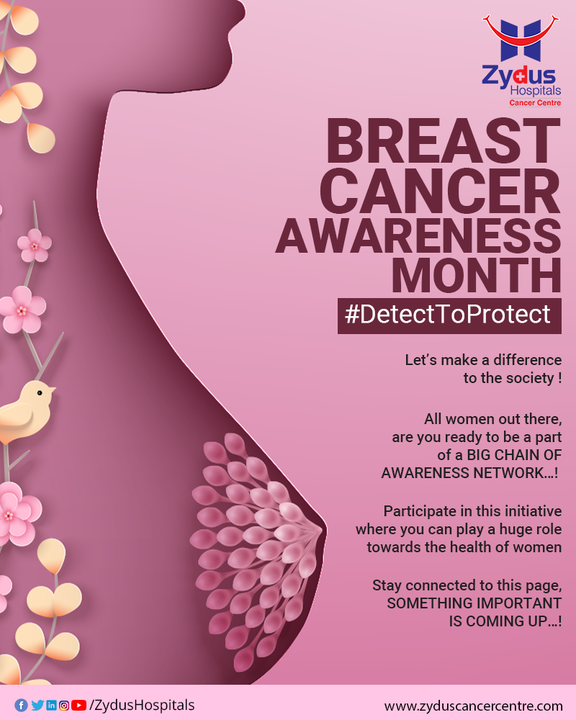 Apart from Skin Cancer, Breast Cancer is the most common type of cancerous disease that has been effecting a large percentage of women in the country.   A lot has been said and a lot has been heard but when it comes to breast cancer, early detection is the most effective way for protection.   Stay tuned and keep watching this space for something noteworthy that is coming up your way.  #ZydusHospitals #ZydusCancerCentre #DetectToProtect #CancerCentre #BreastCancerAwarenessMonth #BreastCancerAwareness #BreastCancer #BreastCancerSurvivor #Cancer #PinkRibbon #October #Pink #CancerAwareness #BreastCancerWarrior #CancerTherapy #CancerTreatment #Cancer #CancerousDiseases #BeatCancer #CancerAwareness #CancerDoctors #HealthCare #StayHealthy #ZydusCare #BestHospitalinAhmedabad #Ahmedabad #GoodHealth #CancerHospital