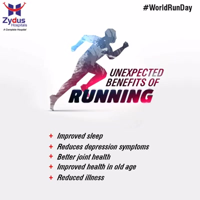 Running is of course great for your fitness, but what about those other benefits that running can bring? From helping with depression to better sleep, here are some health benefits and other ways in which running can help you.     #HealthBenefits #WorldRunDay #HealthyYou #ZydusHospitals #ZydusCare #StayHealthy #Ahmedabad