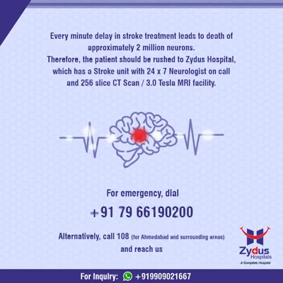 TIME IS PRECIOUS. Act NOW! Act FAST!  #Awareness #BrainStroke #ZydusHospitals #StayHealthy #Ahmedabad #GoodHealth