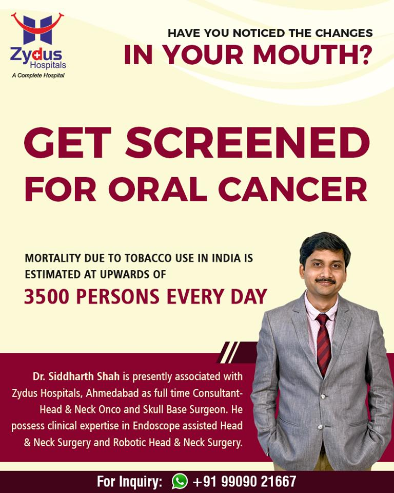 Have you noticed the changes in your mouth?  Get screened for oral cancer  #OralCancer #ZydusHospitals #StayHealthy #Ahmedabad #GoodHealth https://t.co/r9fep35l2c