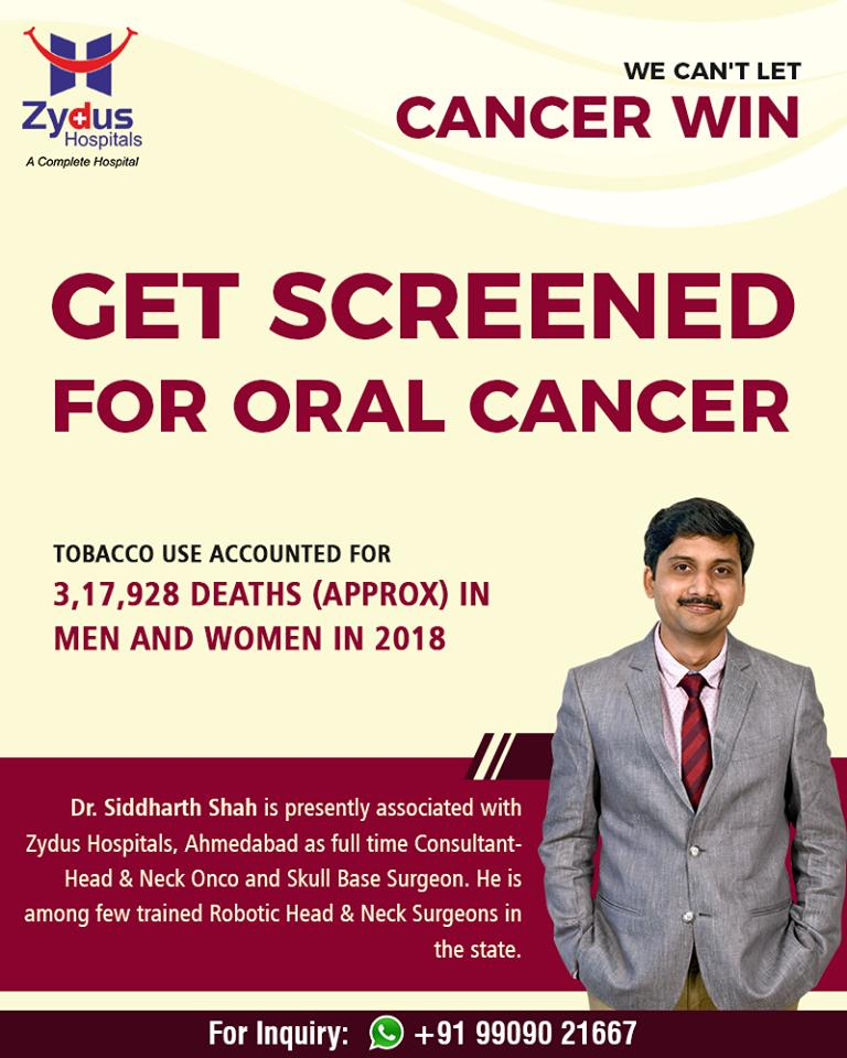 We can't let cancer win.  Get screened for oral cancer  #OralCancer #ZydusHospitals #StayHealthy #Ahmedabad #GoodHealth https://t.co/Y98rsUg7yE