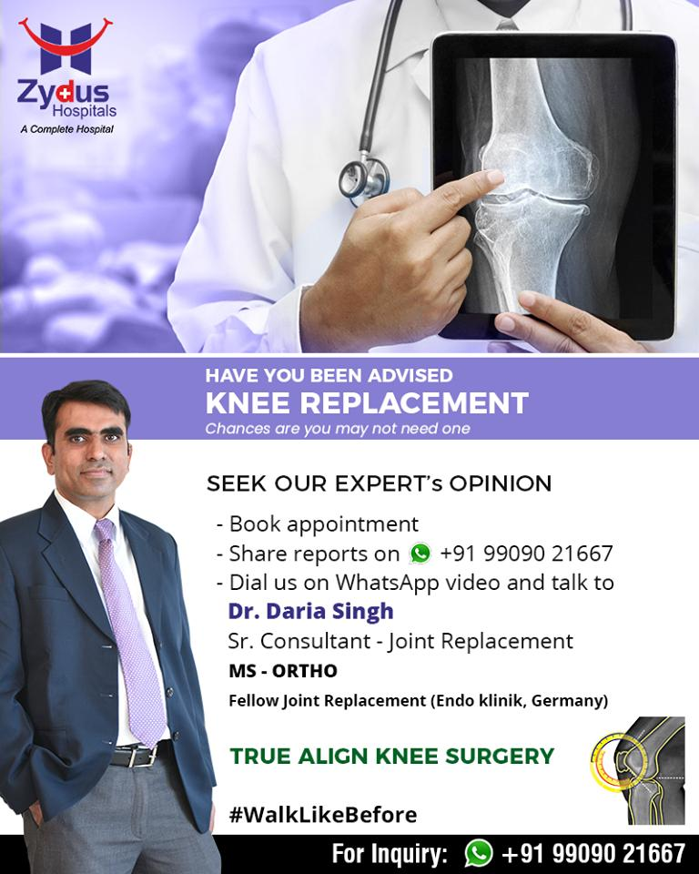 Have been advised KNEE REPLACEMENT  Seek our expert's opinion.  #KneeReplacement #TrueAlignTechnique #ZydusHospitals #StayHealthy #Ahmedabad #GoodHealth https://t.co/z18lUxDpyS
