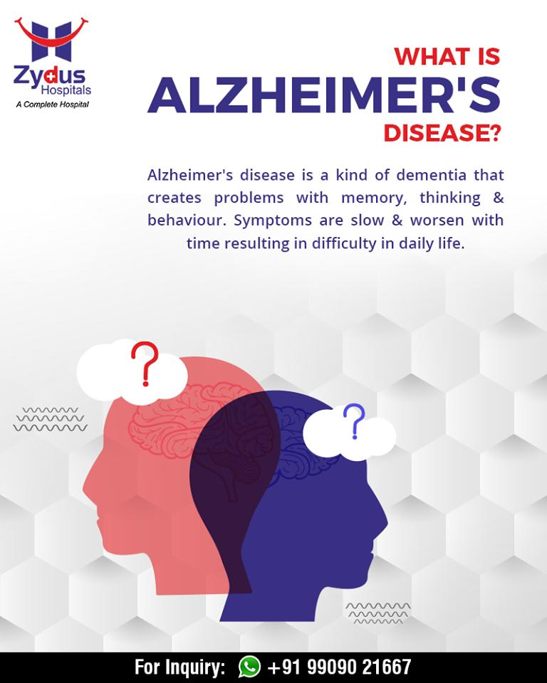 What is Alzheimer's disease?  #AlzheimerAndBrainDisorderAwarenessMonth #Alzheimer #BrainDisorder #dementia #neurology #ZydusHospitals #StayHealthy #Ahmedabad #GoodHealth https://t.co/oXeEVm5a6L