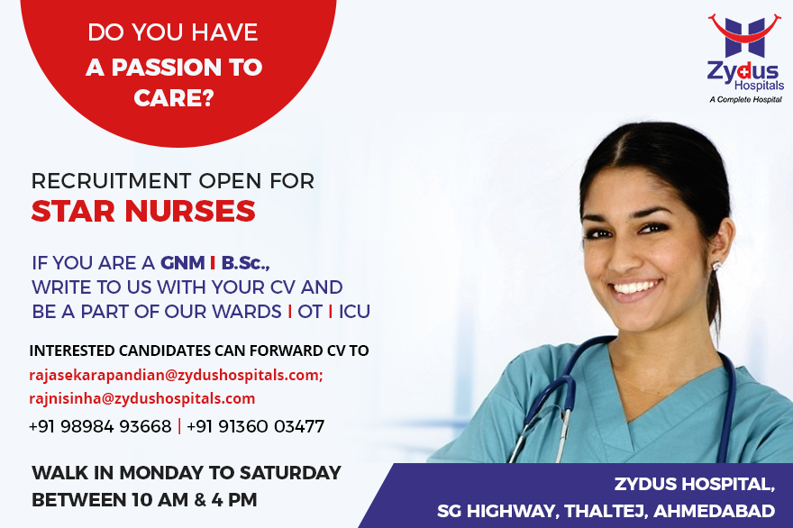 Do you have a passion to care? Recruitment open for Star Nurses  Interested candidates can forward CV to rajasekarapandian@zydushospitals.com rajnisinha@zydushospitals.com  #RecruitmentOpen #StarNurses #ZydusHospitals #StayHealthy #Ahmedabad #GoodHealth https://t.co/brOyTipCa9