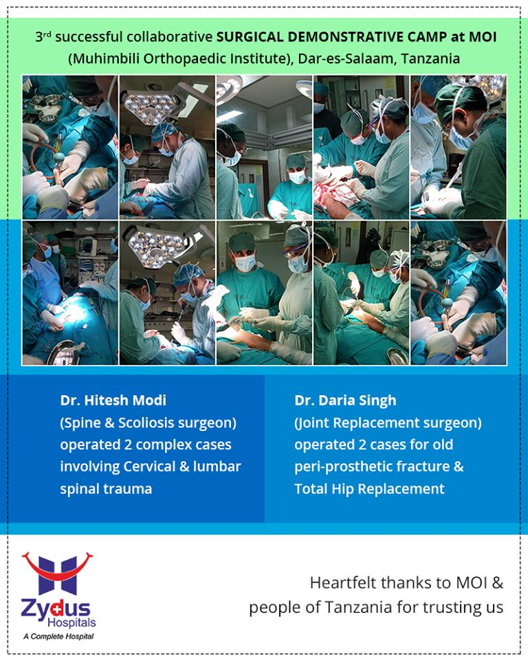 3rd successful collaborative #Surgical Demonstrative Camp at #MOI (Muhimbili Orthopaedic Institute) Dar-es-Salaam, Tanzania  Heartfelt thanks to MOI & people of #Tanzania for trusting us.  #ZydusHospitals #StayHealthy #Ahmedabad #GoodHealth https://t.co/gBhJPJwCXC