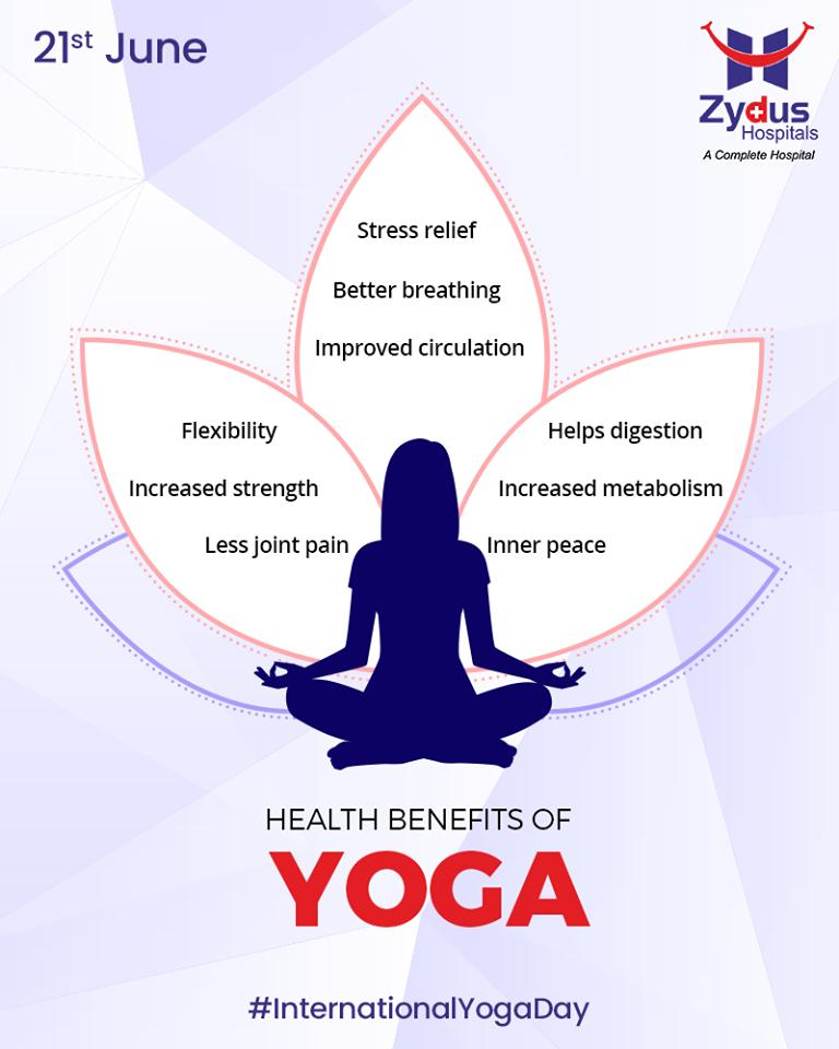 Health benefits of Yoga.  #InternationalDayofYoga #InternationalYogaDay #YogaDay #YogaDay2019 #Yoga #IDY2019 #IYD2019 #ZydusHospitals #StayHealthy #Ahmedabad #GoodHealth https://t.co/dnCCw5LCkf