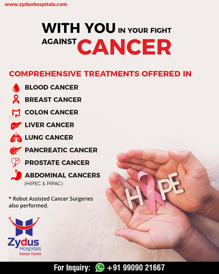 Zydus Hospitals offers you comprehensive treatments against cancer that aid you & your morale in the fight against cancer!  #CancerCare #ExcellentCancerCare #ZydusHospitals #StayHealthy #Ahmedabad #GoodHealth https://t.co/6O83SAsYNK