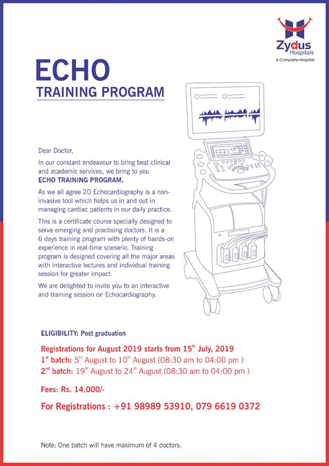 A dynamic opportunity for practicing doctors!  We're here with the comprehensive Echo Training Program which will help  ReadMore:https://t.co/0qVseitorB  #EchoTrainingProgram #TrainingProgram #ZydusHospitals #StayHealthy #Ahmedabad #GoodHealth #ZydusCares https://t.co/AC6TvcjFYi
