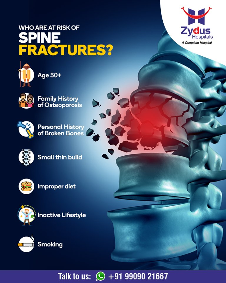 Who are at risk of spine fractures?  #SpineFractures #StayHealthy #ZydusCare #ZydusHospitals #Ahmedabad #Gujarat https://t.co/1BmYSZlbDC