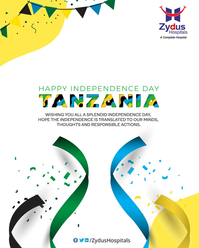 Wishing you all a splendid Independence day, hope the independence is translated to our minds, thoughts and responsible actions.  #TanzaniaIndependenceDay #IndependenceDay #HappyIndependenceDay #9December #Tanzania #StayHealthy #ZydusCare #ZydusHospitals https://t.co/mA129bgcCd