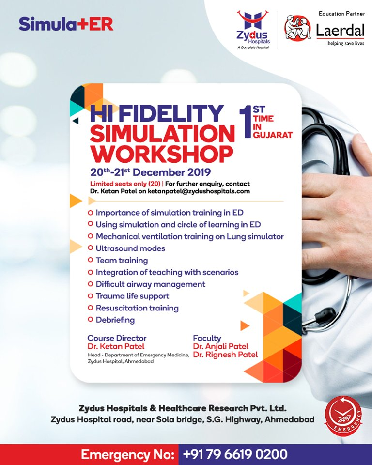 Learn Hi-Fidelity Simulation techniques and ideal teaching tool for upcoming emergency medicine and trauma at Hi Fidelity Simulation Workshop  #HiFidelitySimulationWorkshop #SimulationWorkshop #SimulationTechniques  #ZydusCare #ZydusHospitals #StayHealthy #Ahmedabad #Gujarat https://t.co/NKp7M509rJ