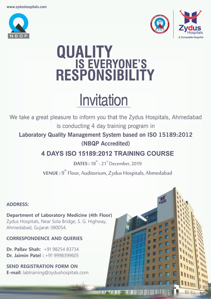We take a great pleasure to inform you that the Zydus Hospitals, Ahmedabad is conducting 4 day training program  ReadMore:https://t.co/b2UOI63pJx  #trainingprogram #4daytrainingprogram #LaboratoryQualityManagementSystem #ZydusCare #ZydusHospitals #StayHealthy #Ahmedabad #Gujarat https://t.co/lYyLTlTDfc